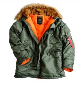 Alpha Industries Bomber Jacket Hooded Parka Coat in Sage Green