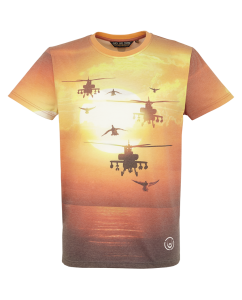 Duck and Cover Jersey T Shirt Orange Sunset and Military Helicopters