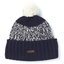 Fred Perry Twisted Yarn Bobble Beanie Hat in Navy Wool Mix White
