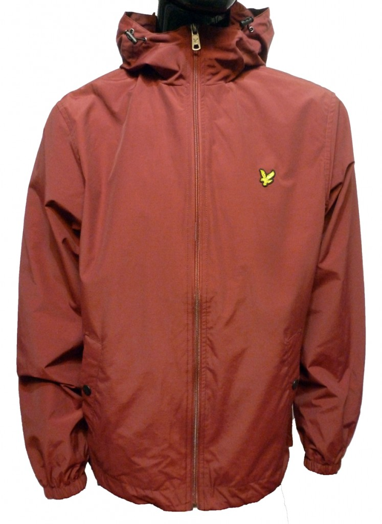Lyle and Scott Zip Through Hooded Jacket Berry Red