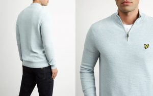 KN906V Moss Stitch 1/4 Zip Jumper by Lyle and Scott