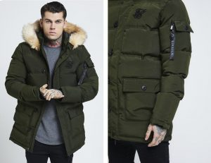 Puff Parka Jacket Khaki by Sik Silk