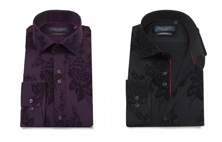 LS74871 Flocked Floral Shirt by Guide London