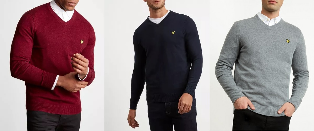 KN401VC Cotton Merino V Neck Jumper by Lyle and Scott