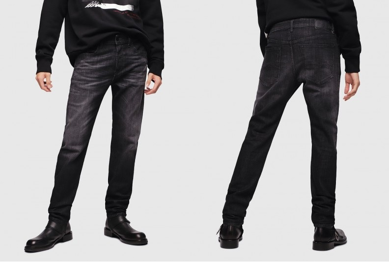 Black Grey Buster Regular Slim Tapered Jean by Diesel