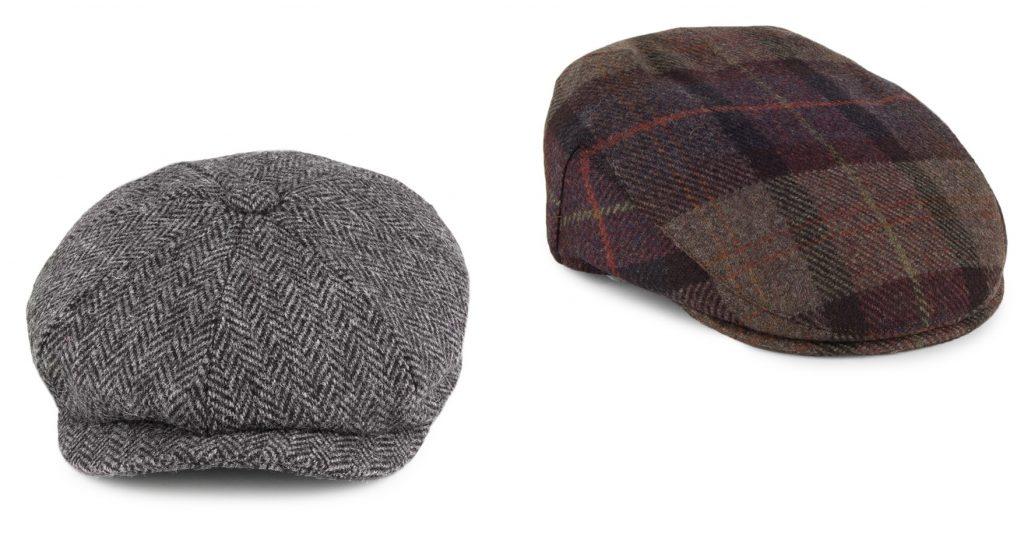 Harris tweed bakerboy cap and wool flatcap by Failsworth