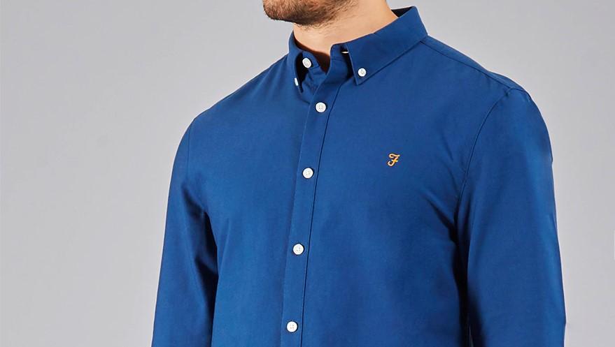 Farah brewer Oxford shirt in Regatta Blue
