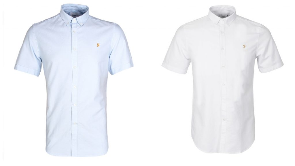 Farah Short Sleeve Oxford Shirts in Sky and White
