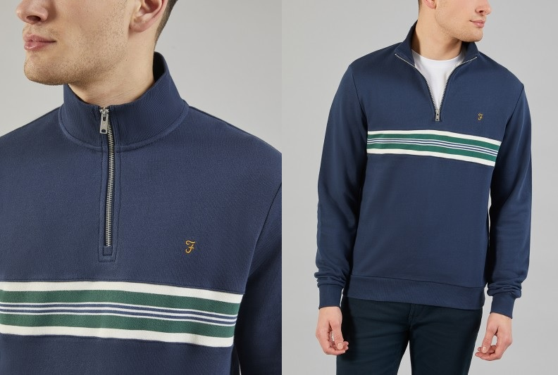 Leeds 1/4 Zip Sweatshirt by Farah -- Yale Blue