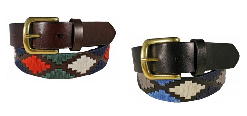 Ibex of England Polo Pattern Leather Belt in Brown and Black