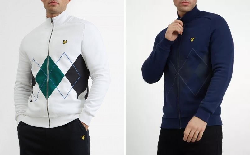 Lyle & Scott Argyle Zip Sweatshirt in White and Navy