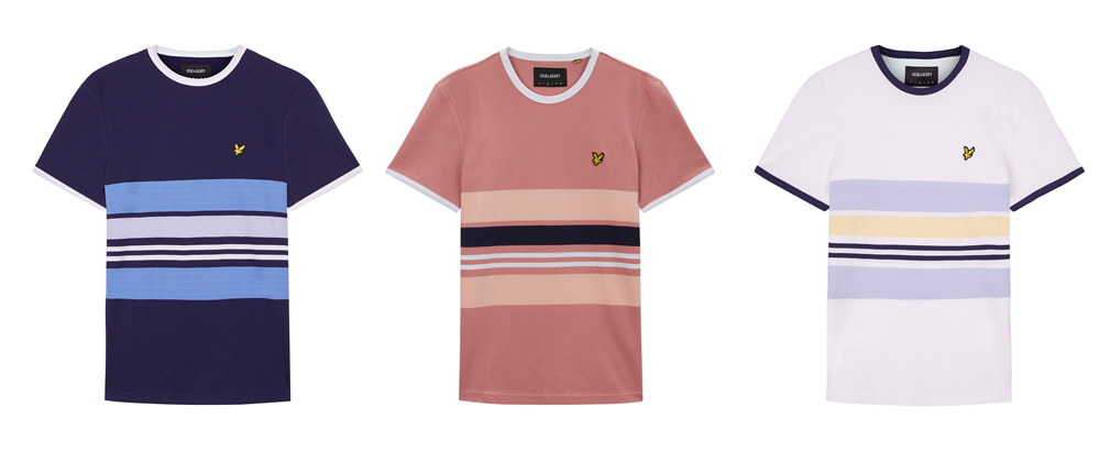 Pique Stripe Ringer T Shirt by Lyle and Scott