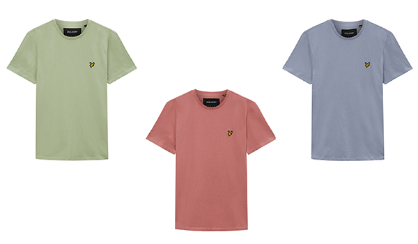 Lyle & Scott Plain T Shirts -- Sea Foam Green, Pink Shadow & Cloud Blue