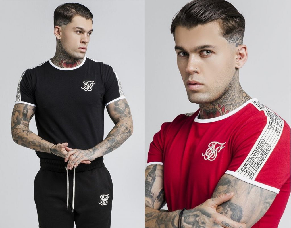Taped Runner T Shirt by Sik Silk in Black and Red