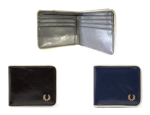 Fred Perry Classic Billfold Wallet -- Black Ecru, Grey & Navy Ecru