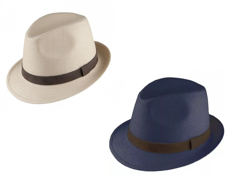 Straw Trilby Hat by Failsworth in Natural and Navy