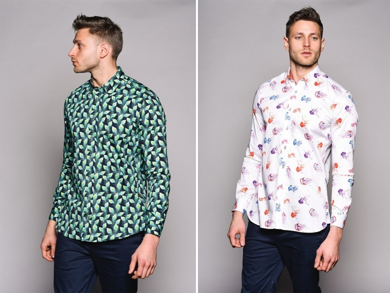 Jellyfish and Peacock Print Shirt by Jiggler Lord Berlue
