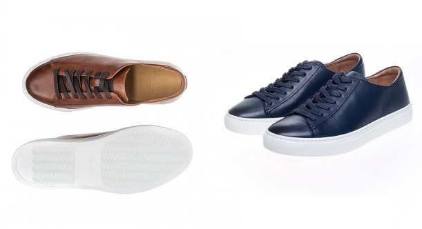Cape Leather Trainers by John White in Tan and Navy