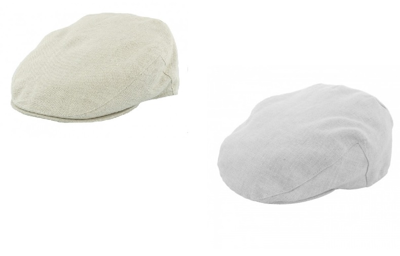 Irish Linen Flat Caps by Failsworth in Natural and Dove Grey