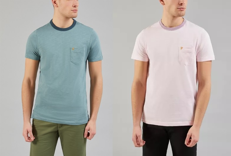 Groove Pocket T Shirt by Farah  -  Clay, Pink Haze