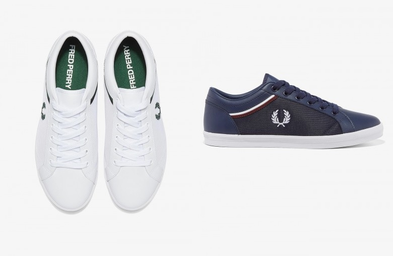 Mesh Panel Baseline Shoes by Fred Perry in White, Navy