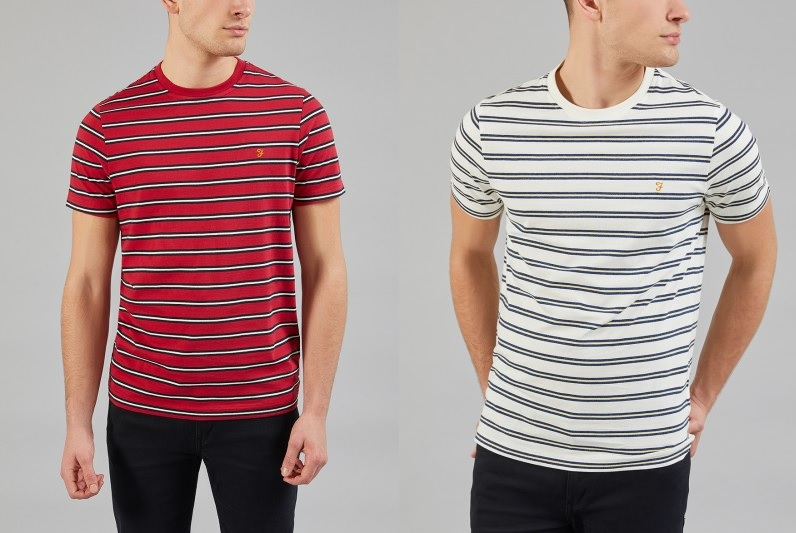 House Stripe T Shirt by Farah in Fire Brick and Ecru