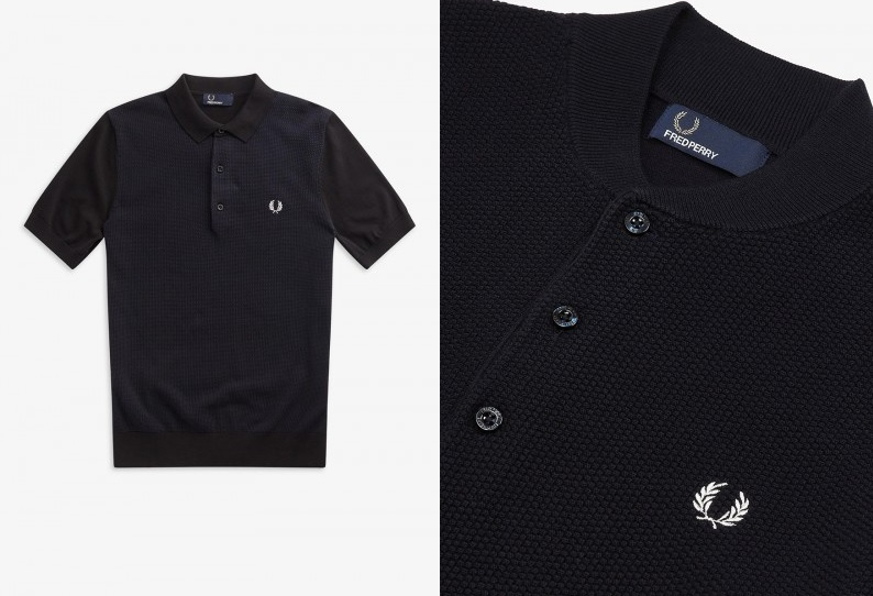 Black Knitted Polo shirts by Fred Perry