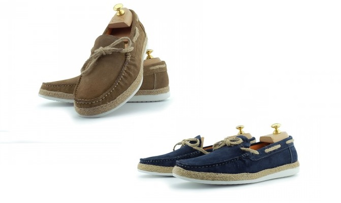 """Delmore"" Suede Boat Shoes by Paolo Vandini in Tobacco, Mid Blue"