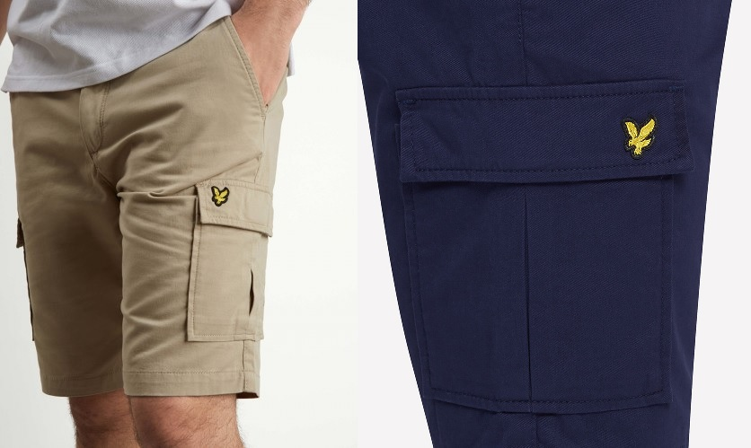 Cargo Short by Lyle and Scott in Stone and Navy