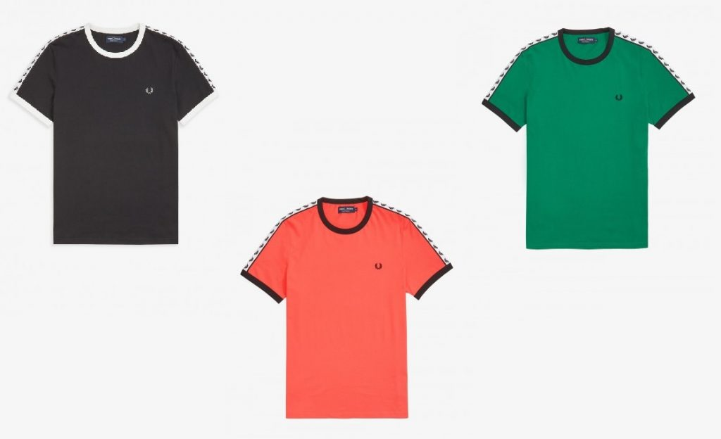 Fred Perry Ringer T-Shirts in Black, Tropical Red, Pitch Green