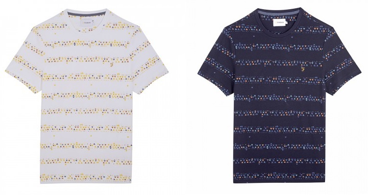 Wilpshire Triangle Print T Shirt by Farah in White, Navy