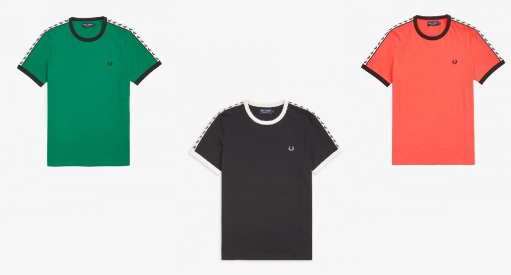 Taped Ringer T-Shirt by Fred Perry in Pitch Green, Black, Tropical Red
