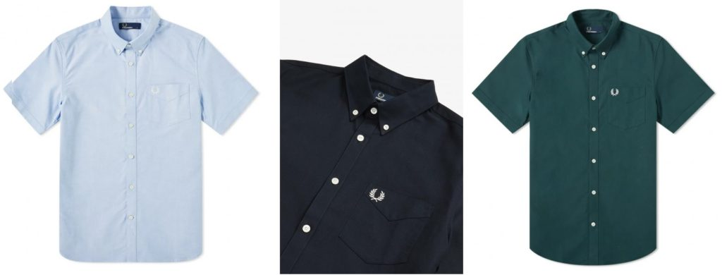 Short Sleeve Oxford Shirt by Fred Perry  |  Light Smoke, Navy, Mallard