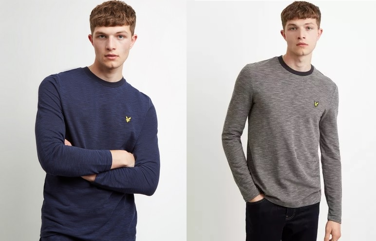 Space Dye Long Sleeve T Shirt by Lyle and Scott  in Navy, Dark Grey