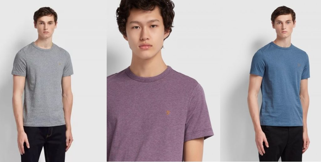 Dennis Plain Crew Neck T Shirts by Farah