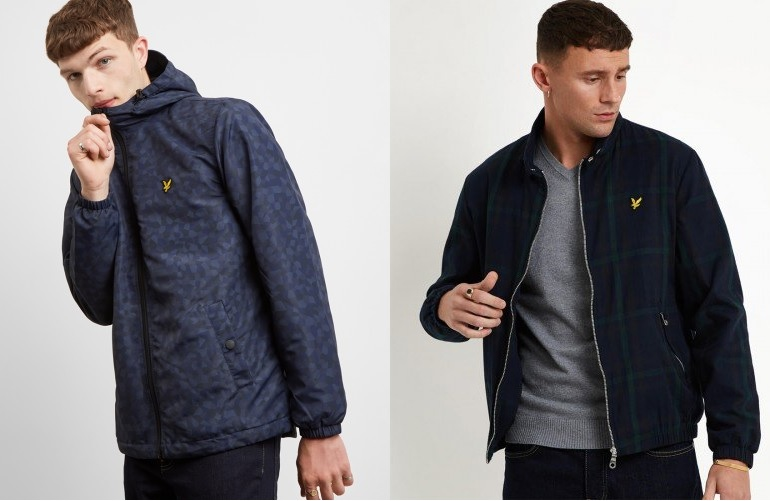 Geo Print Hooded Jacket and Check Harrington Jacket by Lyle and Scott