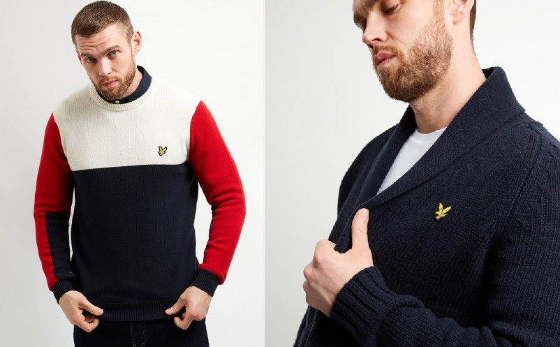 Block Jumper (£100) and Cardigan (£130) by Lyle & Scott