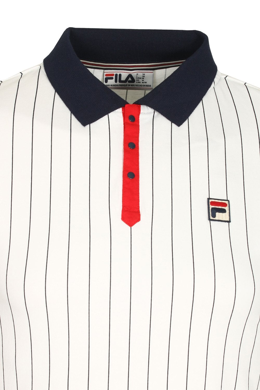 36d5cef8f8f49 Fila BB1 Classic Vintage Striped Polo Polo Shirts, from ApacheOnline
