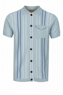 V44GM12 View Button Stripe Knit Polo
