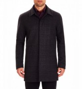 CT1033 Wool Blend Check Overcoat