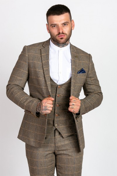 97c9c259aed9 Marc Darcy Ted Tan Heritage Tweed Blazer Jacket Jackets, from ApacheOnline