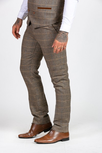 Marc Darcy Ted Tan Heritage Tweed Trouser Trousers 480ecffd9b9d
