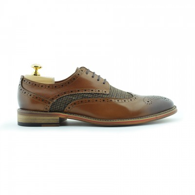 Coy Leather/Textile Brogue Shoe