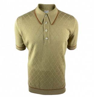SS2376 Diamond Front Knitted Polo