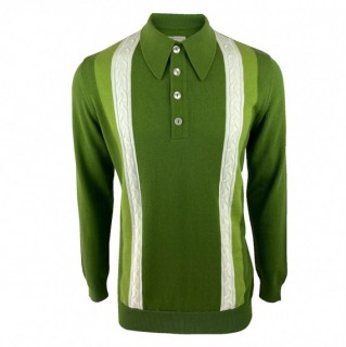 SS2378 Long Sleeve Cable Stripe Knit Polo