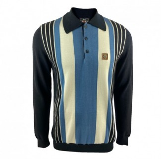 TR8563 Long Sleeve Stripe Knit Polo