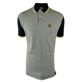 TR8569 Houndstooth Panel Polo Shirt