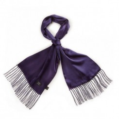 TL3805 White Pin Dot Fringed Scarf