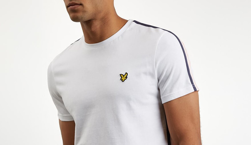 Lyle and Scott stripe sleeve t-shirt in white